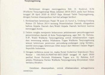 Surat penugasan yang ditandatangai oleh Plt Gubernur Kepri, Isdianto yang diterima media ini. Foto : ist