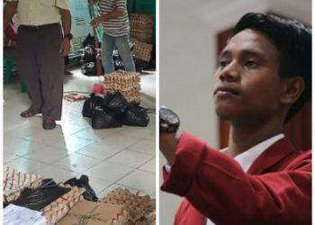 Photo klose, sembako yang dibagikan Pemko Tanjungpinang (kiri) dan Ketua IMM Tanjungpinang, Sofyan Ali (kanan), foto : Detak.media