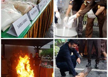 Photo klose pemusnahan barang bukti Kejari Tanjungpinang, photo : Alam/detak.media