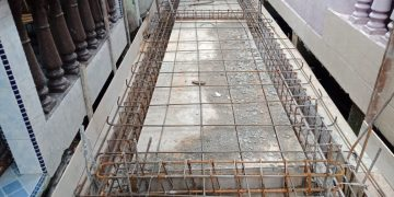 Proses Pengerjaan Perbaikan Pelantar Mutiara 2 RT. 3  RW. 09 Potong Lembu Kelurahan Kemboja
