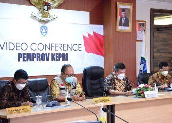 Satgas Covid-19 Provinsi Kepri bersama tim gugus tugas penanganan Covid-19 Tanjungpinang saat melakukan konfrensi Pers Terkait PPKM Darurat Tanjungpinang-Bintan, melalui zoom meeting, f : ist