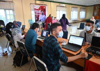 Suasana Vaksinasi Covid-19 di Mapolres Tanjungpinang, f : ist